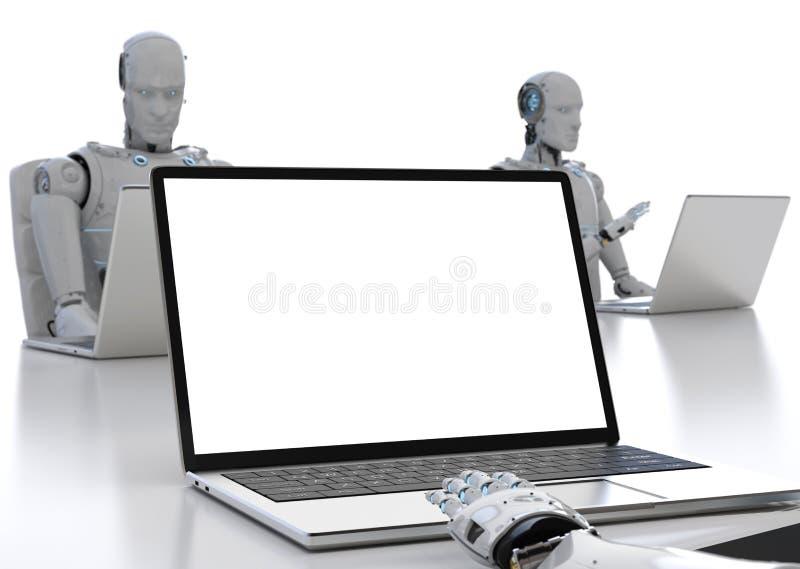 Robot praca na notatniku ilustracji
