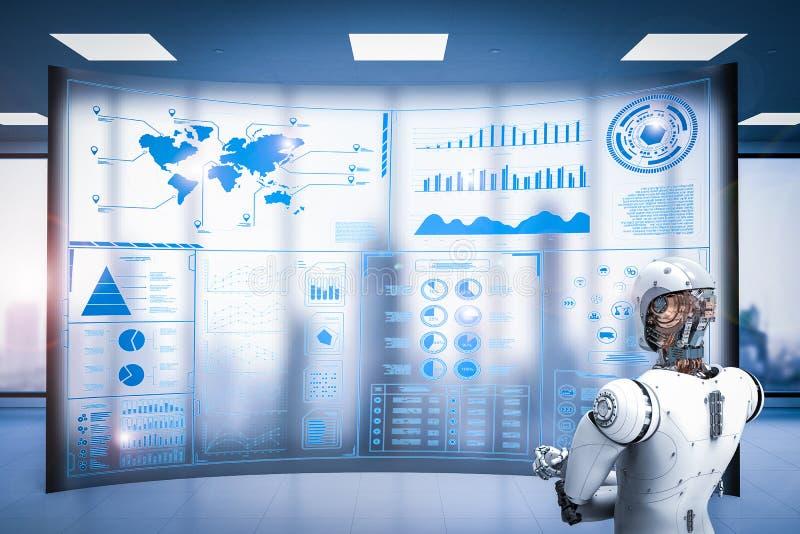 Robot pracuje z cyfrowym pokazem zdjęcia stock