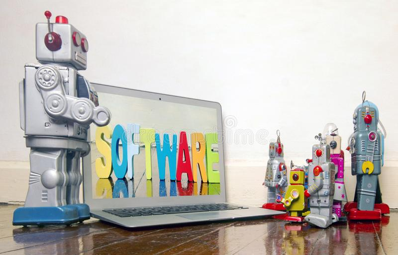 Robot presentation  with laptop stock photography