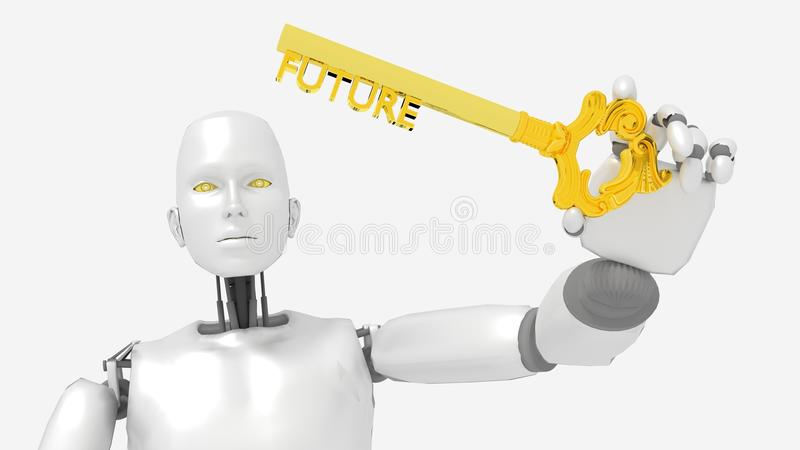 Robot presenting a golden key with the word future vector illustration