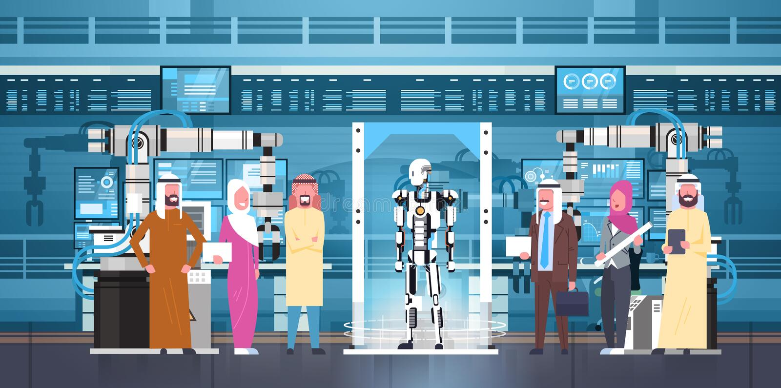 Robot Production Arab Business People Group At Modern Factory Robotic Industry, Artificial Intelligence Concept royalty free illustration