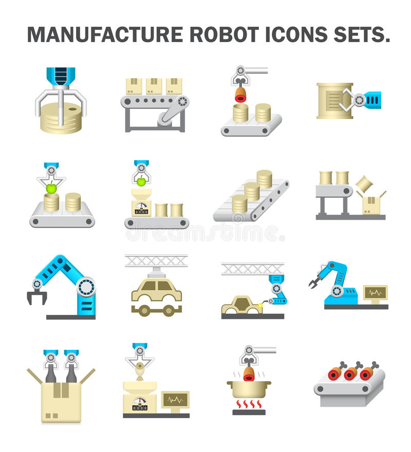 Robot production icons vector illustration