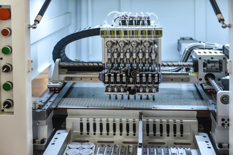 Robot production line in factory. Intelligent robot arm used in modern factory , automated assembly line stock photos