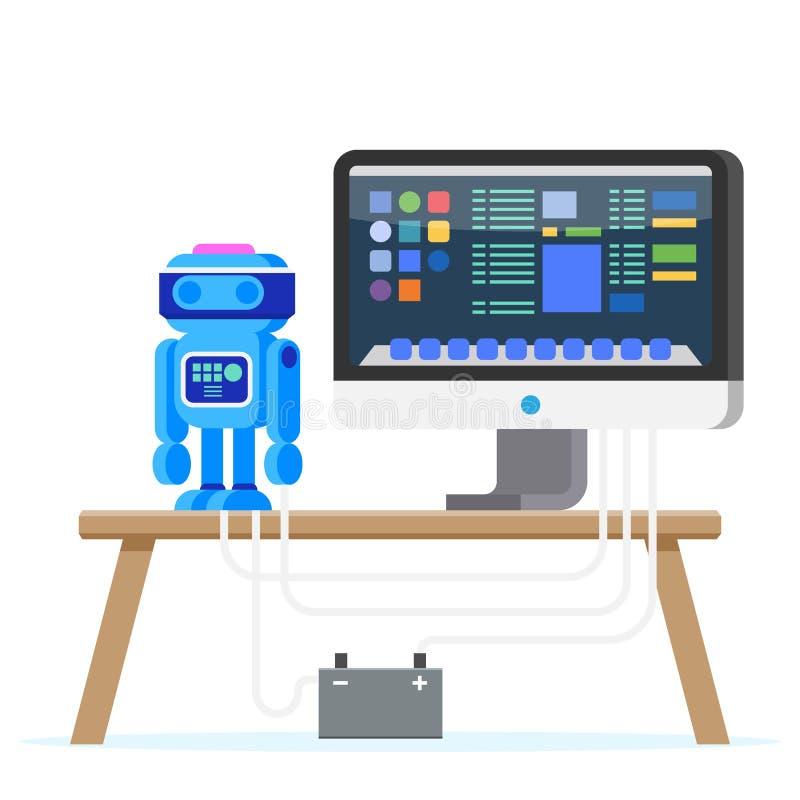 Robot Programming Flat Illustration. Engineering. vector illustration