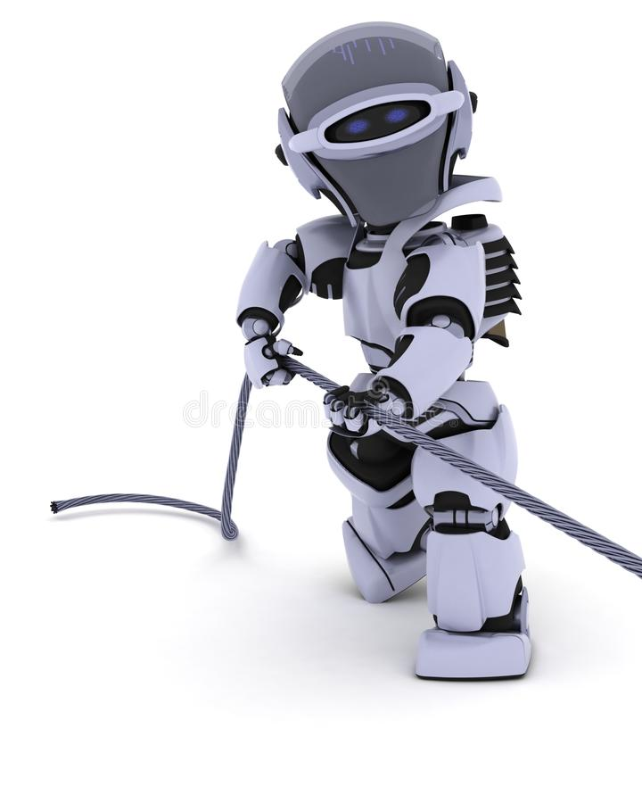 Robot Pulling on a Steel Cable stock illustration