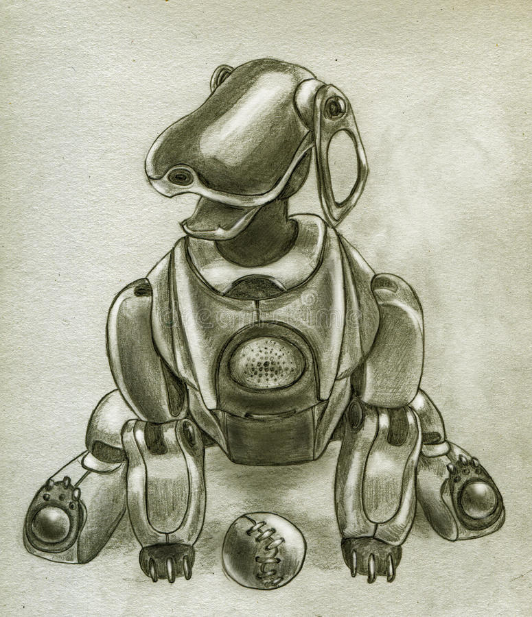 Download Robot puppy stock illustration. Illustration of pencil - 9806447
