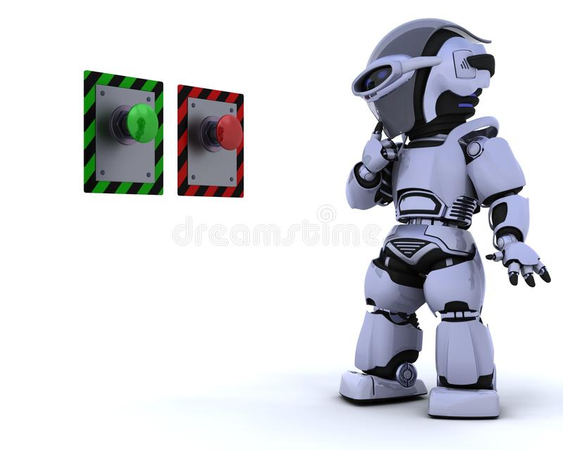 Download Robot and push button stock illustration. Image of option - 13419161