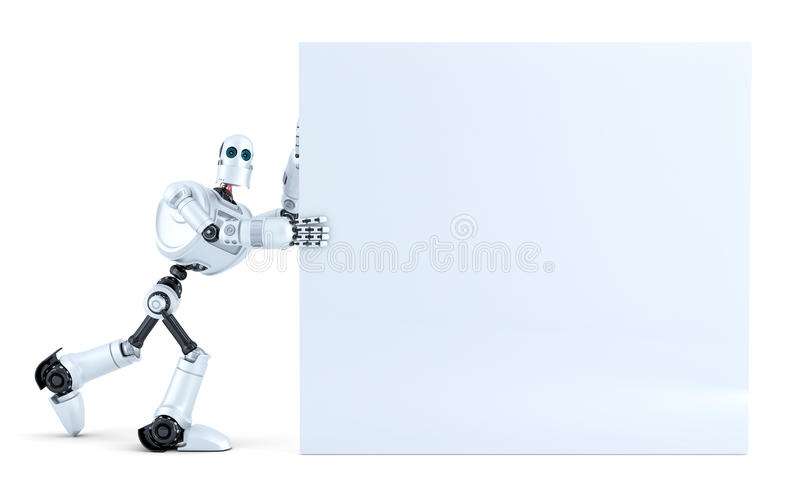 Robot pushing a big blank banner. Isolated. Contains clipping path royalty free illustration