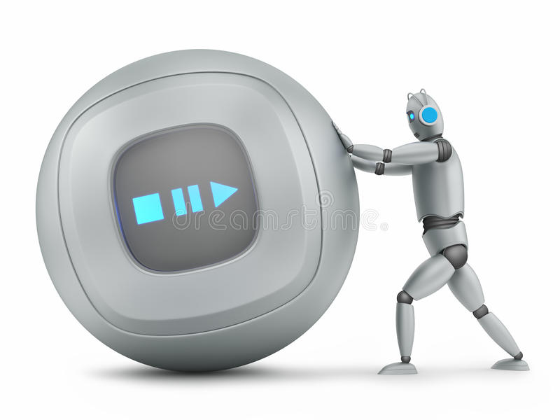 Robot pushing big music player stock illustration