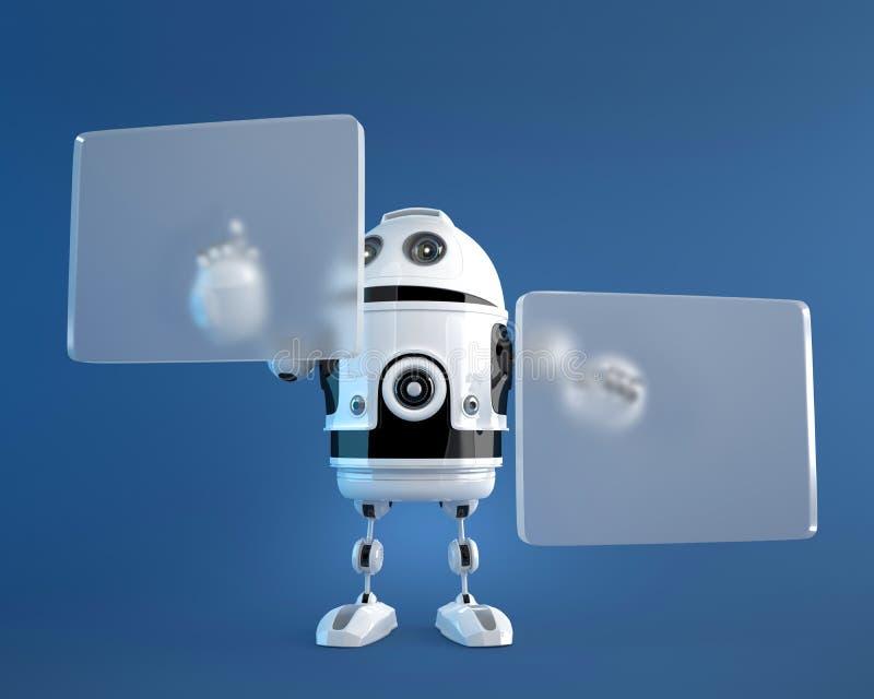 Robot pushing a button on digital vurtual screen royalty free illustration