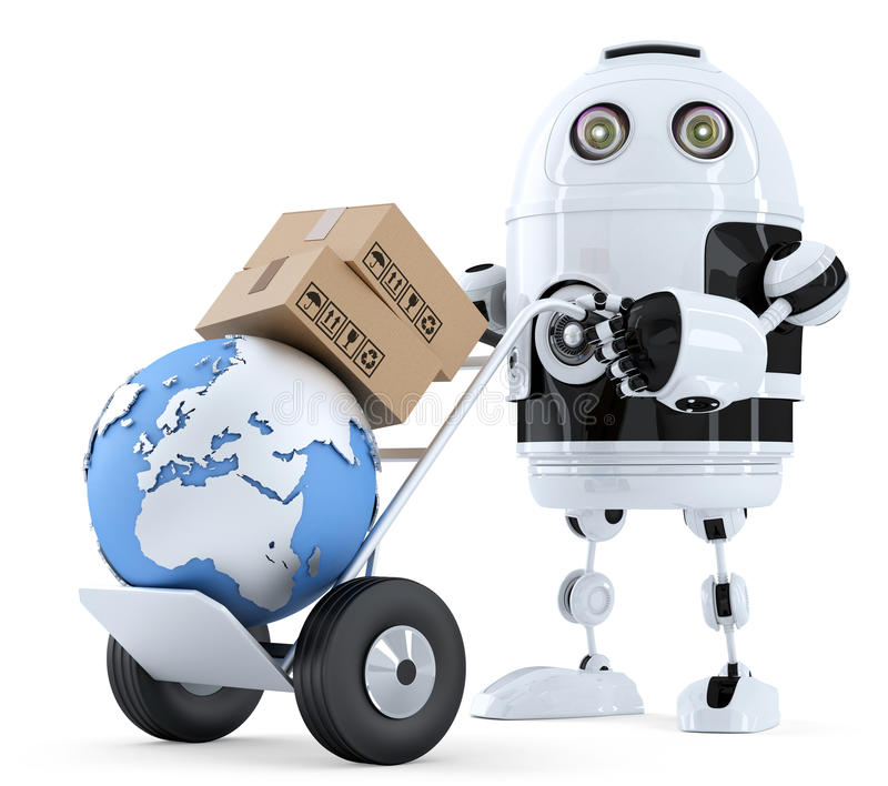 Robot pushing a hand truck with boxes. Isolated. Contains clipping path vector illustration