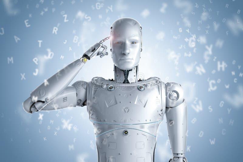 Robot que aprende o aprendizaje de máquina stock de ilustración
