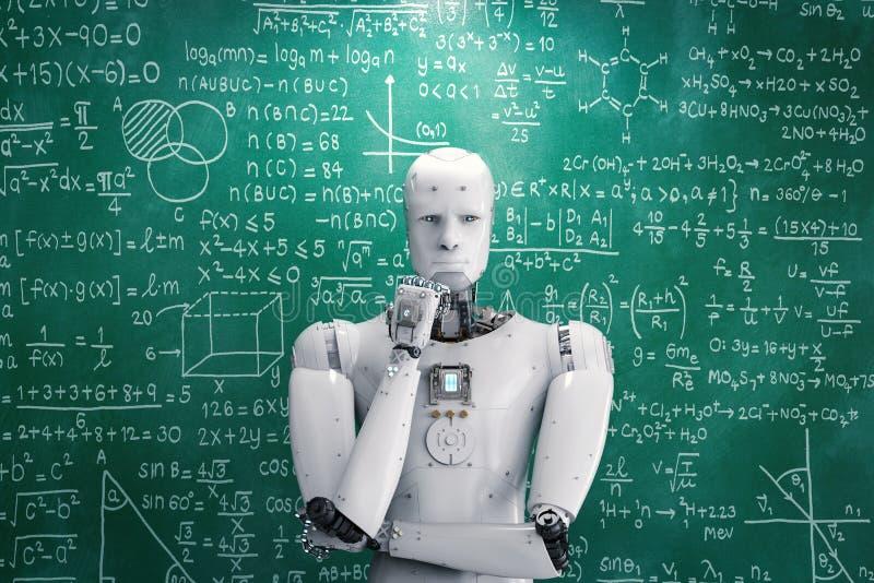 Robot que aprende o que soluciona problemas ilustración del vector
