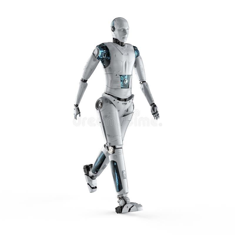 Robot que camina el cuerpo completo stock de ilustración