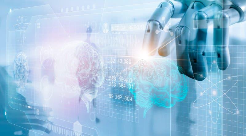 Robot que comprueba resultado de la prueba del cerebro con el interfaz del ordenador stock de ilustración