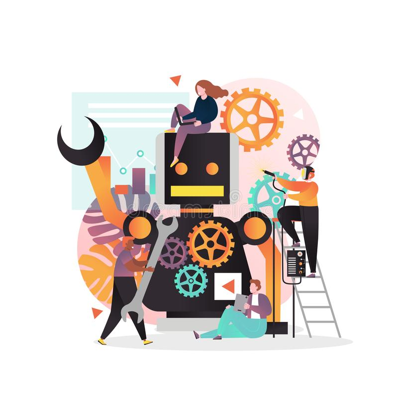 Robot que crea el concepto del vector para la bandera de la web, página de la página web ilustración del vector