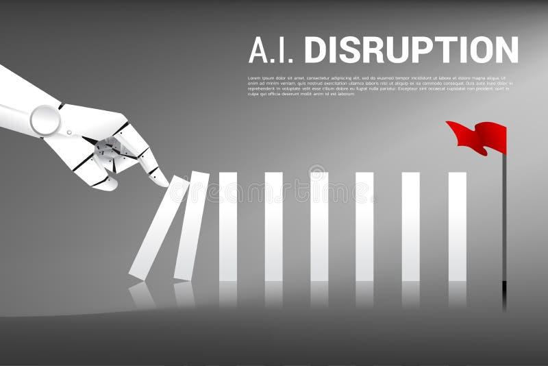 Robot que empuja el bloque manualmente para crear efecto de dominó para golpear la meta stock de ilustración