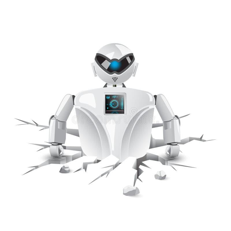 Robot que hace las grietas de la tierra ilustración del vector