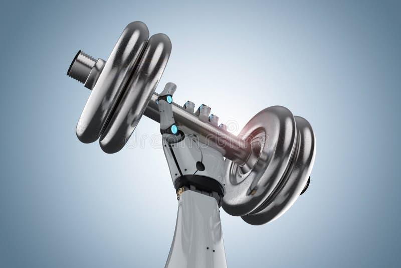 Robot que lleva a cabo pesa de gimnasia ilustración del vector