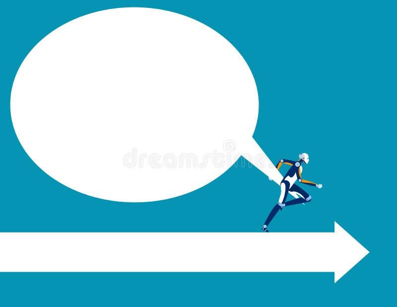 Robot que lucha para tirar de la burbuja vacía grande del discurso y que funciona con la manera para la sala Ejemplo del vector d ilustración del vector