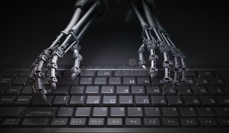 Robot que mecanografía en un teclado de ordenador libre illustration
