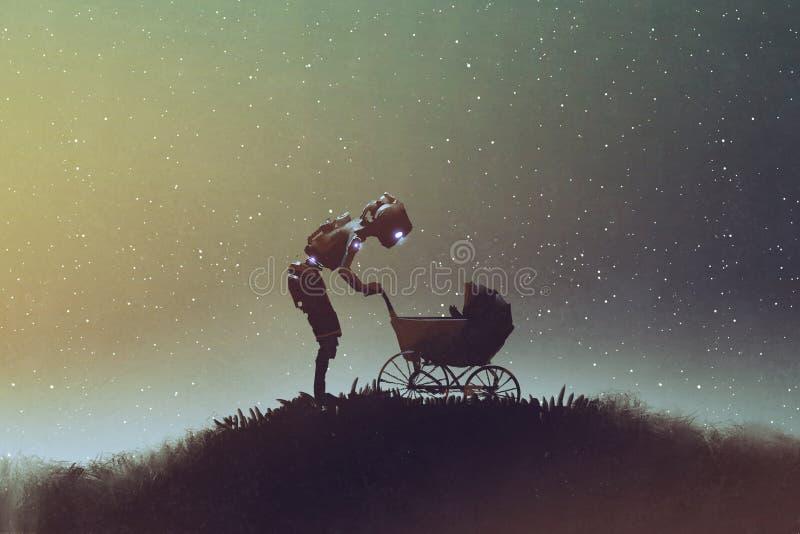 Robot que mira al bebé en un cochecito contra el cielo estrellado ilustración del vector