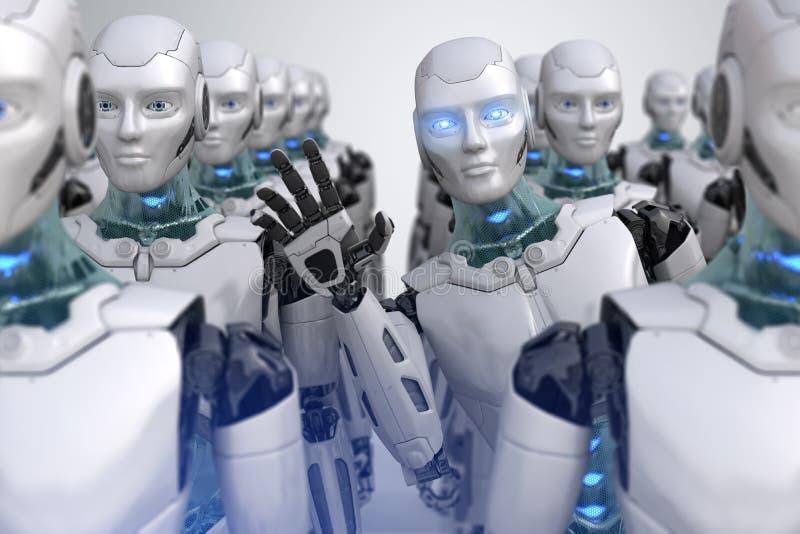 Robot que mira furtivamente hacia fuera de la muchedumbre ilustración del vector