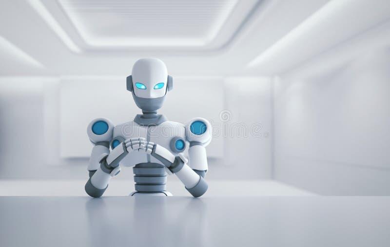 Robot que se sienta delante de la tabla vacía, inteligencia artificial stock de ilustración