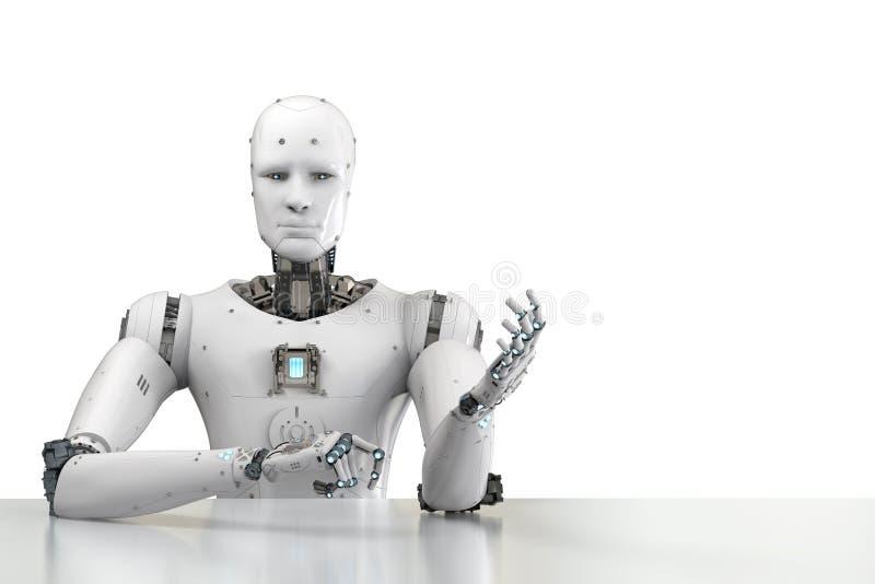 Robot que se sienta detrás de la tabla ilustración del vector
