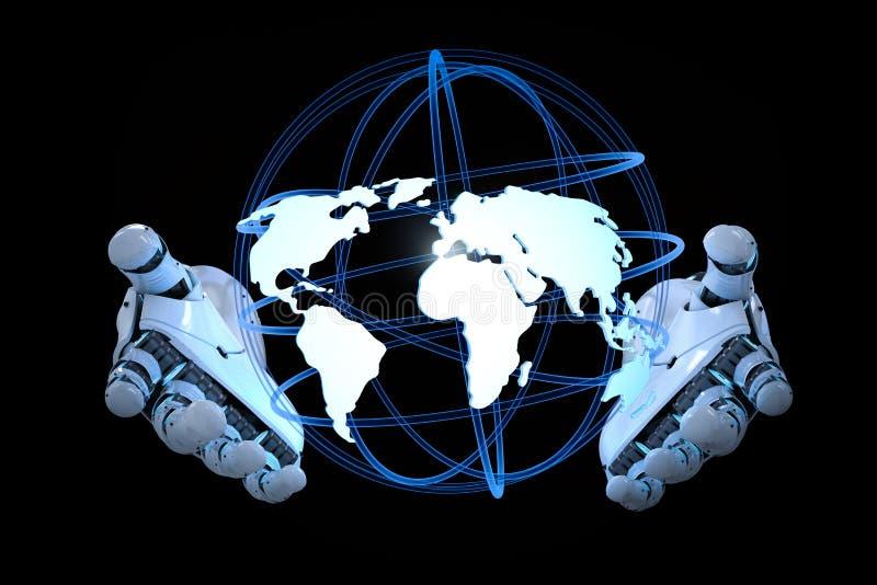 Robot que sostiene el globo stock de ilustración