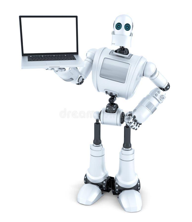Robot que sostiene el ordenador portátil de la pantalla en blanco Aislado Contiene la trayectoria de recortes stock de ilustración