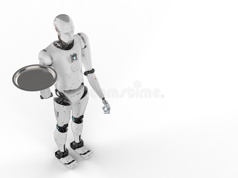 Robot que sostiene la bandeja de la porción ilustración del vector