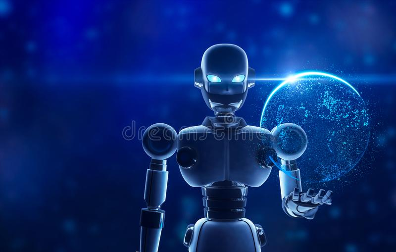 Robot que sostiene la tierra del planeta en la exhibición virtual stock de ilustración