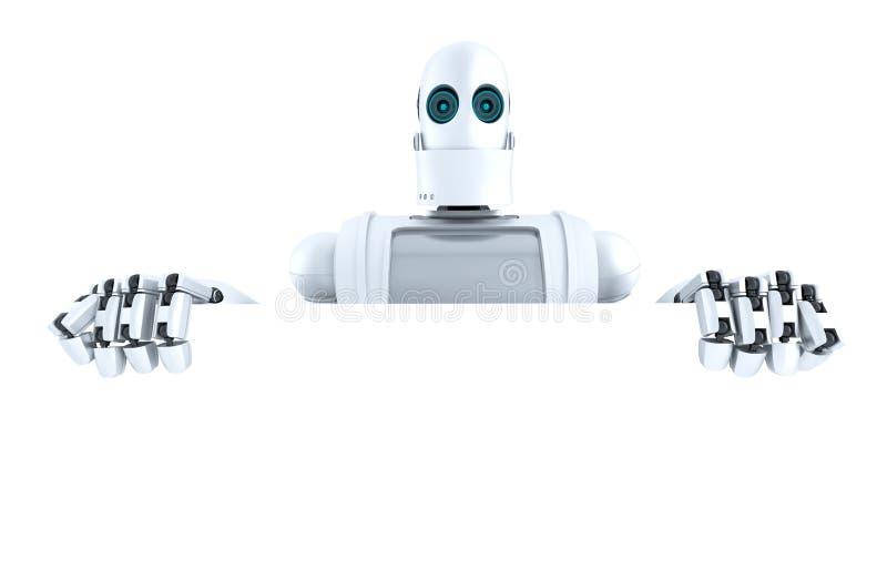 Robot que sostiene una bandera en blanco Contiene la trayectoria de recortes stock de ilustración