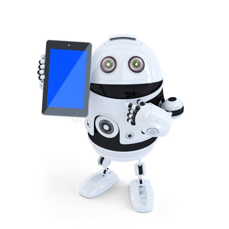 Robot que sostiene una tableta Contiene la trayectoria de recortes ilustración del vector