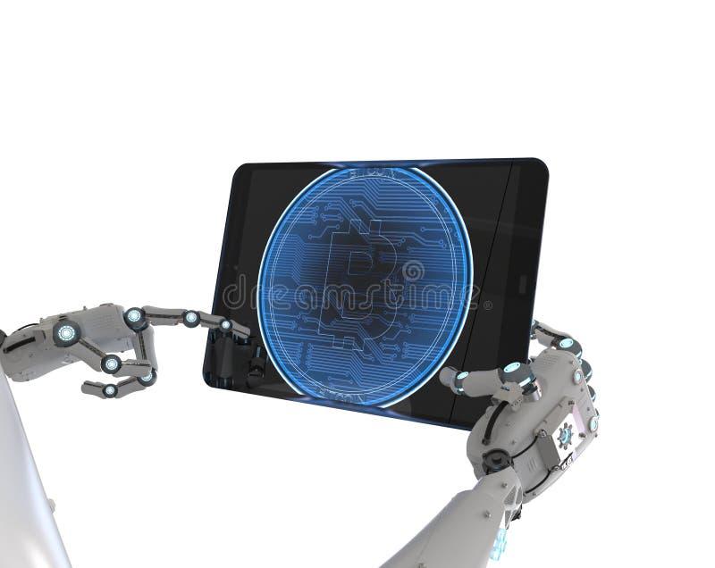 Robot que trabaja con el bitcoin libre illustration