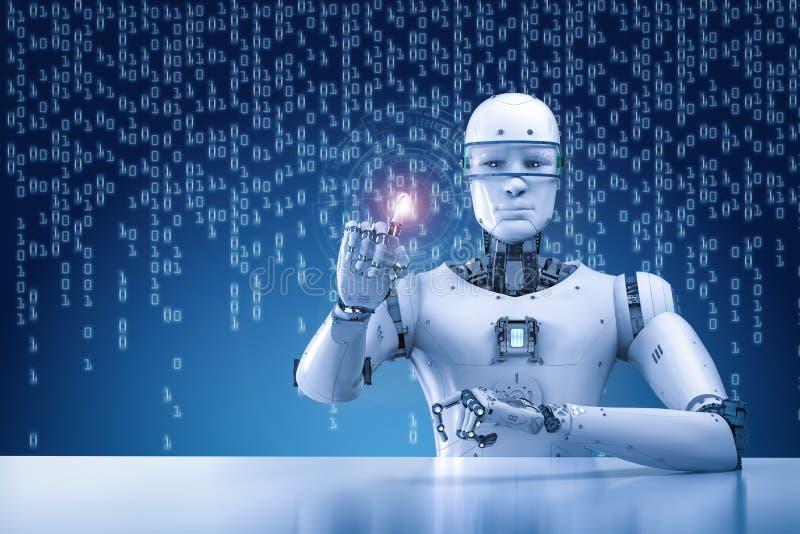 Robot que trabaja con la exhibición virtual ilustración del vector