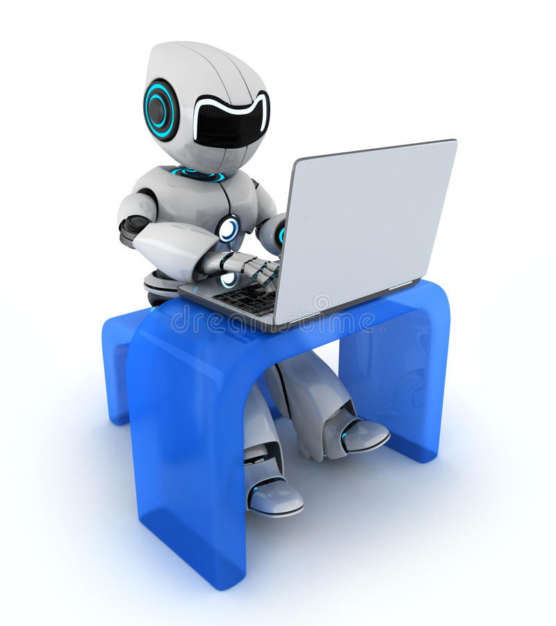 Robot que trabaja en el ordenador portátil stock de ilustración