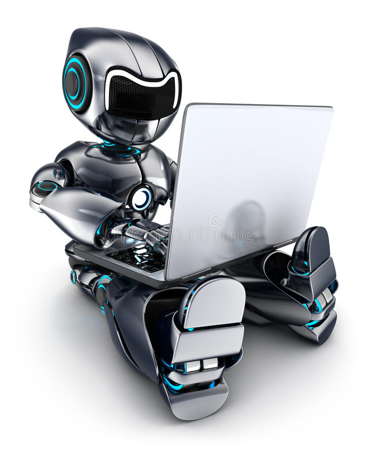 Robot que trabaja en el ordenador portátil libre illustration