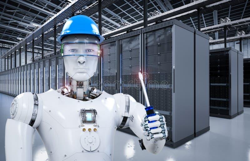 Robot que trabaja en sitio del servidor ilustración del vector