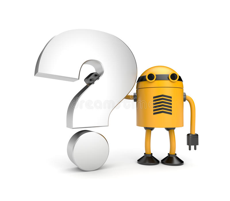Robot with question stock illustration