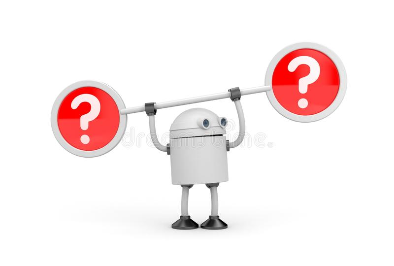 Robot and question marks stock illustration