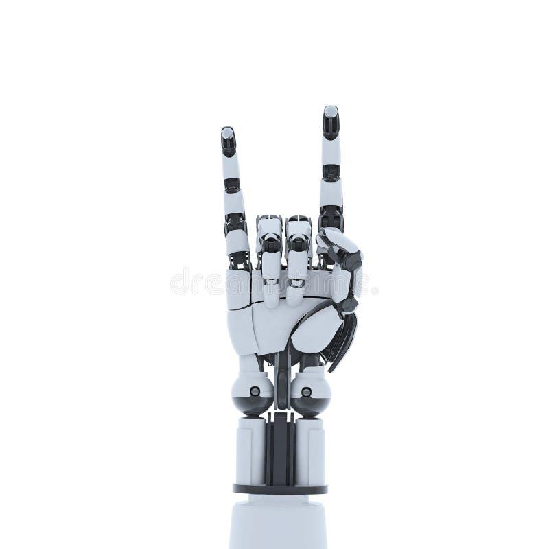 Robot ręki seansu gest, odosobniony na białym tle ilustracji