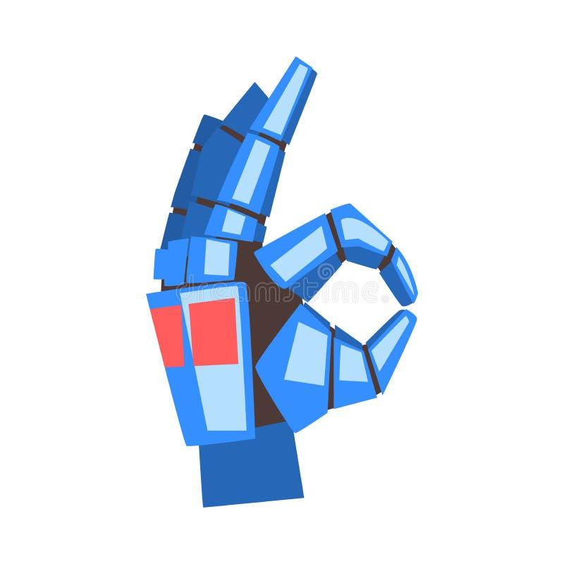 Robot ręka Pokazuje Ok gest, Machinalny Palmowy Gestykulować, Sztucznej inteligencji wektoru ilustracja ilustracji