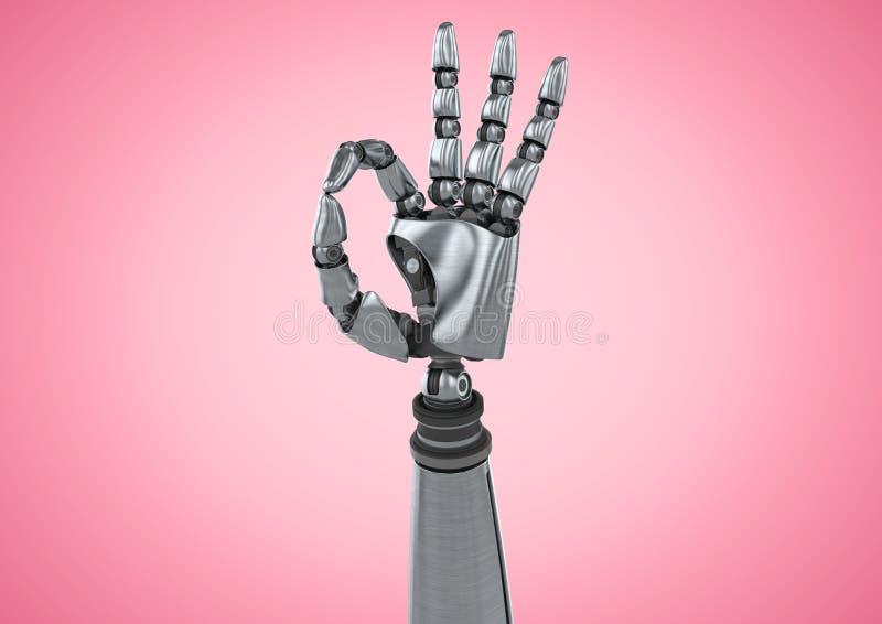 Robot ręka pokazuje ok znaka przeciw różowemu tłu ilustracja wektor