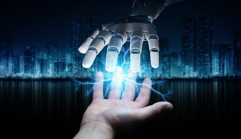 Robot ręka tworzy elektryczność z ludzkim ręki 3D renderingiem ilustracja wektor