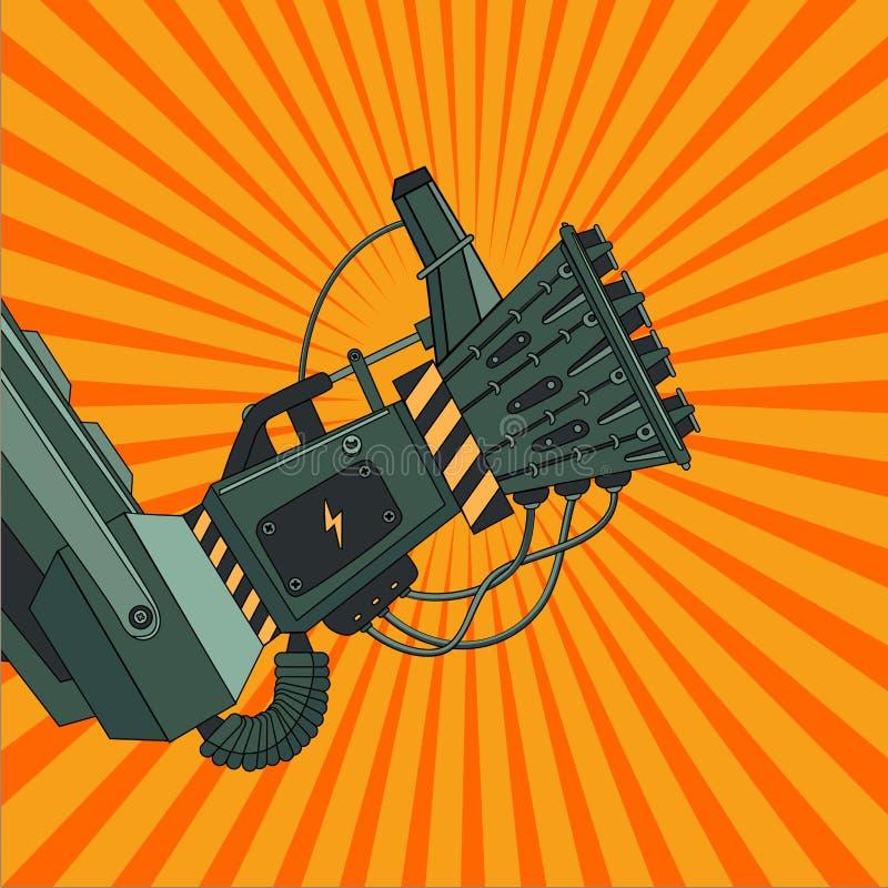Robot ręka z ok znakiem Retro komiczka styl Rocznik sztuka ilustracji