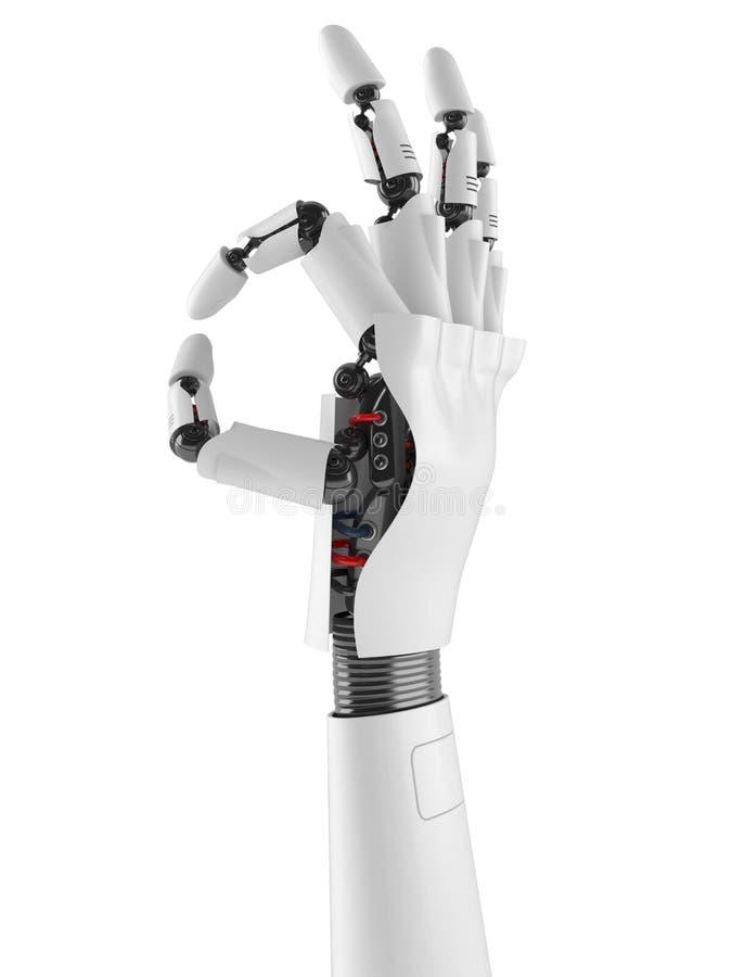 Robot ręki OK gesta pojęcie ilustracja wektor