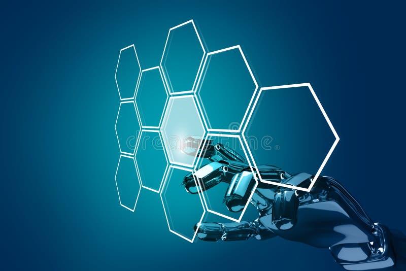 Robot ręki pchnięcie sześciokąta guzik w sześciokątach świadczenia 3 d royalty ilustracja