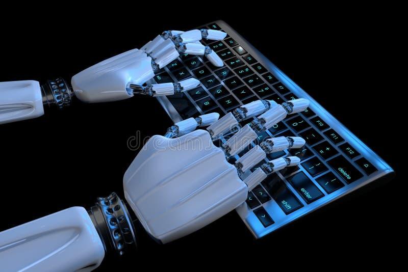 Robot r?ki pisa? na maszynie na klawiaturze, klawiatura Mechaniczny r?ka cyborg u?ywa komputer 3D odp?acaj? si? realistyczn? ilus royalty ilustracja